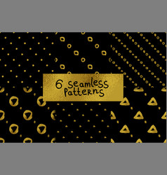 Geometric black and gold seamless pattern set vector