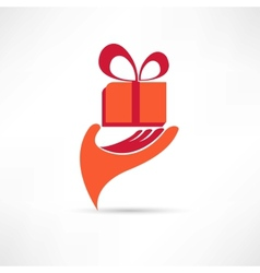 Gift in red box icon vector