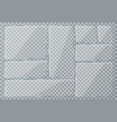 glass plate set on transparent background clear vector image vector image