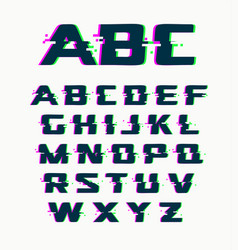 Glitch font isolated abstract symbols with vector