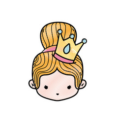 Grated girl head with crown and bun hair vector