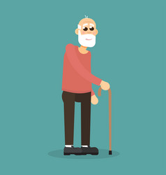 gray-haired bearded old man with walking cane vector image