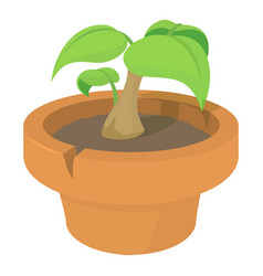 Green plant icon cartoon style vector
