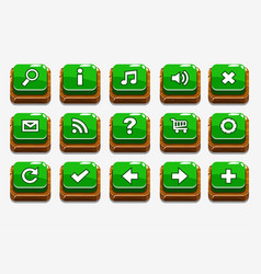 green wood buttons with different menu elements vector image