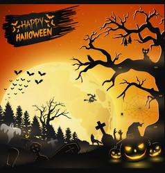 halloween night background with pumpkins vector image