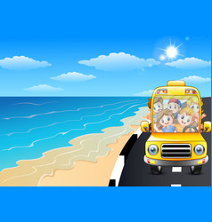 happy children riding a car in the seaside road vector image