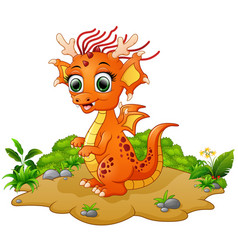 happy dragon cartoon vector image