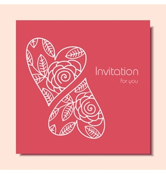 Invitation card with hearts vector image