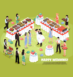 Isometric wedding party background vector