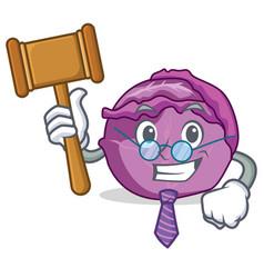 Judge red cabbage mascot cartoon vector