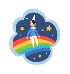 Kid dreams sweet dream cloud with cute boy vector