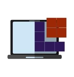 Laptop and tetrix videogame design vector image