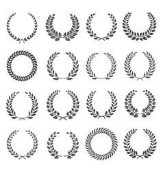 Laurel wreath circles silhouette icons set round vector