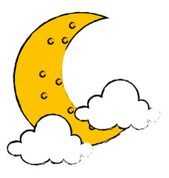 moon night with clouds vector image