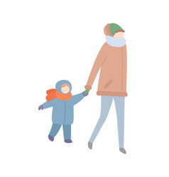 Mother walking with child holding hand of kid vector