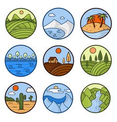 Nature landscape icons of mountains ocean vector