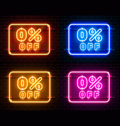 Neon 0 off text banner color set night sign vector