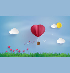 Origami made hot air balloon and cloud vector
