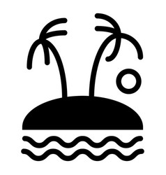 palm trees on island solid icon tropical vector image