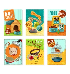 Pet Care 6 Mini Banners Set vector