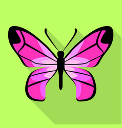 pink color butterfly icon flat style vector image