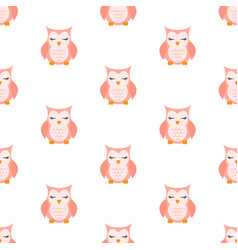 pink sleeping owl pattern vector image