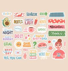 Planner stickers cartoon characters vector