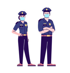 Police officers in covid19 pandemic flat isolated vector