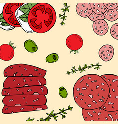 Pre-made card with antipasto ingredients vector