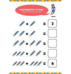 Preschool addition mathematics learn worksheet vector