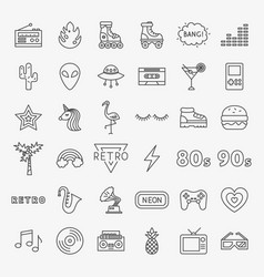 retro line icons set vector image