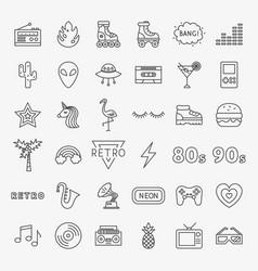 Retro line icons set vector
