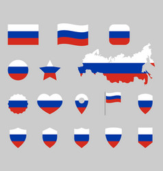 russia flag symbols set russian national flag vector image