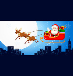 santa in a sleigh with reindeers vector image