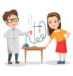 scientific experiments kids on chemistry lesson vector image