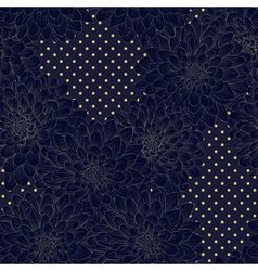 Seamless background with blue flowers Hand-drawn vector