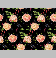 Seamless floral pattern of pink rose ranunculus vector