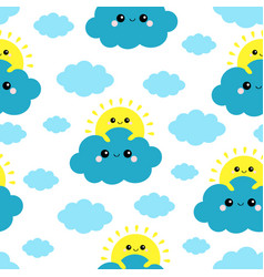 Seamless pattern sun holding blue cloud in the vector