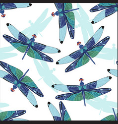 Seamless pattern with dragonflies isolated on vector