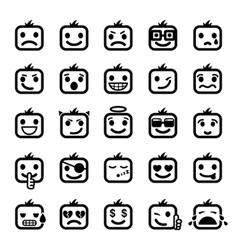 Set 25 smiley faces vector