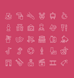 Set line icons fine art vector