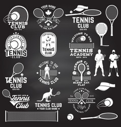 set of tennis club badges with design element vector image