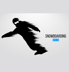 Silhouette of a snowboarder isolated vector