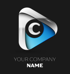 silver letter c logo in silver-blue triangle shape vector image
