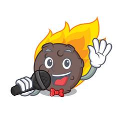 Singing meteorite mascot cartoon style vector