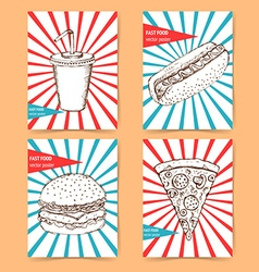 Sketch fast food poster vector image
