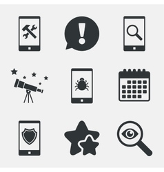 Smartphone icons Shield protection repair bug vector image