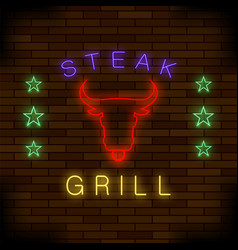 steak house neon colorful sign vector image