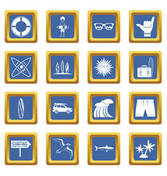 surfing icons set blue vector image