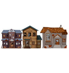 three old houses with broken windows vector image